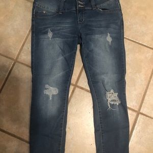 YMI distressed ankle jeans. Soft and lighter wash